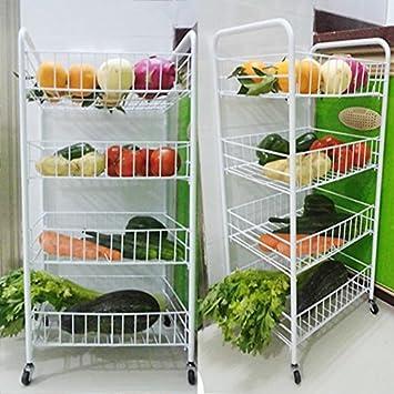 Amazon.de: vierflammig Küche Obst Gemüse Rack auf Rädern Tief ...
