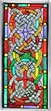 Decorative Hand Painted Stained Glass Window Panel in a Celtic Knots Design
