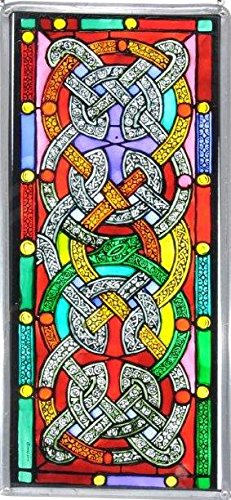 Decorative Hand Painted Stained Glass Window Panel in a Celtic Knots (Knotwork Design)