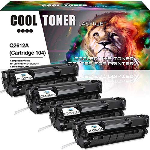 Cool Toner Compatible Toner Cartridge Replacement for HP 12A Q2612A Canon 104 FX-10 FX-9 Toner for HP Laserjet 1020 1018 1012 1022 Canon ImageClass MF4150 MF4270 MF4350d MF4370dn D420 D480 Printer-4PK