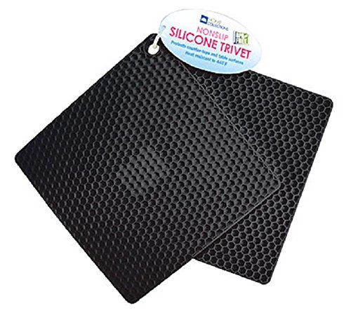 (2 Pack Non Slip Honeycomb Silicone Trivet Protects Counter Tops And Table Surfaces Heat Resistant to 440 Degrees Farenheit BPA FREE (Black))