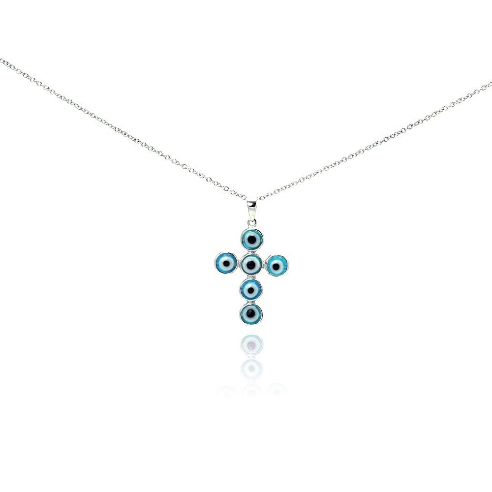 CloseoutWarehouse Rhodium Plated Sterling Silver Evil Eye Cross Necklace