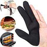LiPingAnti-hot Insulation Three Finger Glove Nylon Cloth, Cooking Heat Resistant Kitchens Mitts for Cooking, Baking, Barbecue Potholder, Mothers Day Gift Present (A)