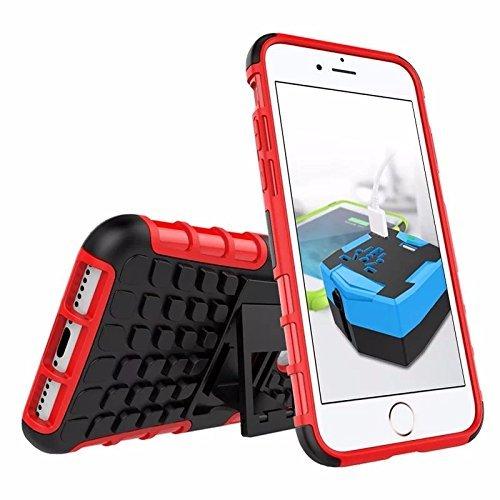 iPhone 6 Plus Funda, iPhone 7/7S Plus Armor casos (6 +) rgida con relieve Shockproof ArmorBox/funda protectora blanda de Slim (5.5 inch) por cable y duro hbrido de doble capa caso (RED)