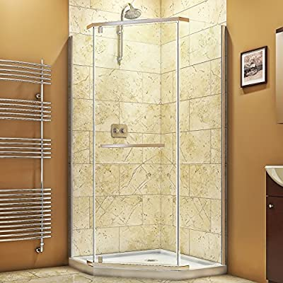 "DreamLine Prism 34 1/8 in. D x 34 1/8 in. W, Frameless Pivot Shower Enclosure, 3/8"" Glass, Chrome Finish by Dreamline"