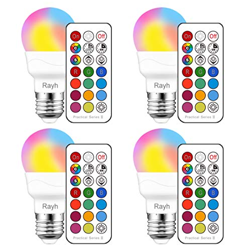 Color Changing Light Bulb, RGB LED Light Bulbs with Remote Control, Dimmable 3W E26 Screw Base Bulbs, Decorative Lights, Mood Light -Timing- Dual Memory,12 Color Choices, Great for Home, Stage, Party