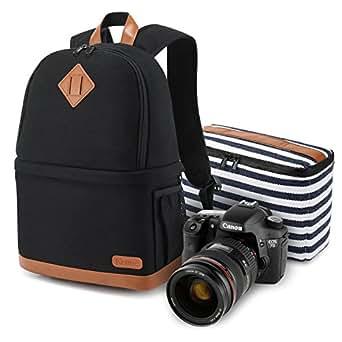 "Kattee Women's Canvas SLR DSLR Camera Case Backpack 14"" Laptop Bag (Black, Small)"