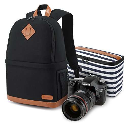 "Kattee Women's Canvas SLR DSLR Camera Case Backpack 14"" Lapt"