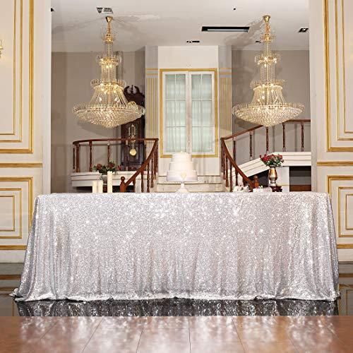 Silver Sequin Tablecloth (PartyDelight Sequin Tablecloth, Rectangular, 60