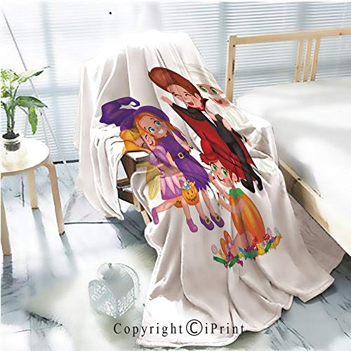 AngelSept Printed Throw Blanket Smooth and Soft Blanket,Cute Colorful Halloween Kids in Costume for Party Set isolated2 for Sofa Chair Bed Office Travelling Camping,Kid Baby,W31.5 x H47.2 ()