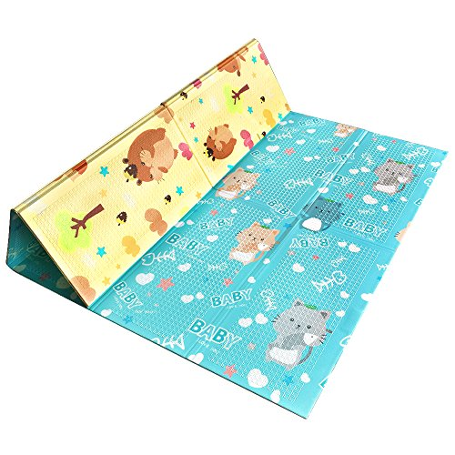 Baby Yoga Mat (Tumama Foldable Baby Playmat Crawling Mat for Kids Babies Toddler Infant, Soft XPE foam Non Toxic Shock Reversible Waterproof Ground Interactive Exercise Mats, large size 78