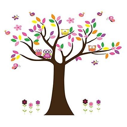 Patrón eDealMax búho de la flor del árbol del hogar extraíble etiqueta de la pared del