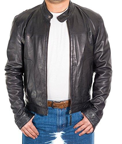 piercing ger L hombre piel Collar de cordero de negro Chaqueta de para Et Biker gwFx5z8qx