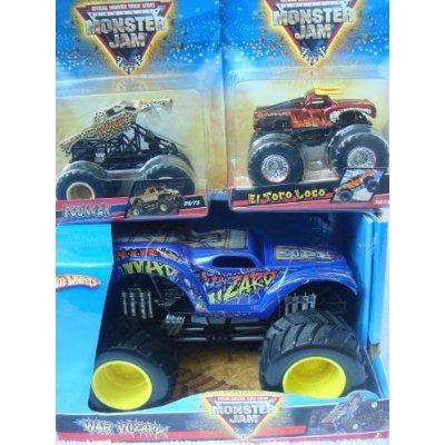 Hot Wheels Monster Jam Set: War Wizard 1/24 Including Pouncer Tilt Offs & El Toro Loco - Monster Wizard Truck War