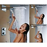 BL Modernretro Bathroom Thermostatic Shower Faucet, Stainless Steel 304 Wall Mounted Brushed Waterfall And Rain Shower Head,Shower Faucet(Chrome plated solid brass)