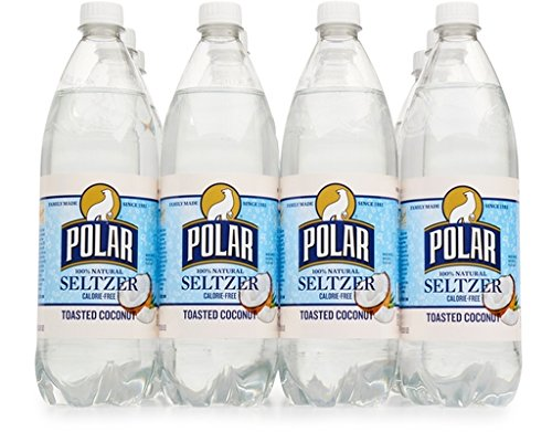 Polar Beverages Seltzer, Toasted Coconut, 33.8 Fluid Ounce (Pack of 12) made in New England