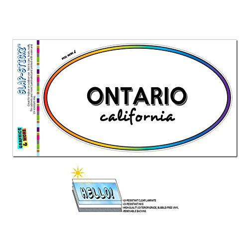 Graphics and More Rainbow Euro Oval Window Laminated Sticker California CA City State Mil - Pac - - Ontario Mils