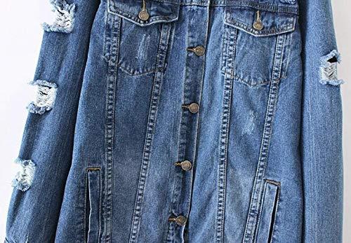 Giacca Fashion Blau Single Donna Women Outwear Strappato Fidanzato Jeans Libero Breasted Lunghe Anaisy Denim Giubbino Lunghi Relaxed Autunno Eleganti Giovane Cappotto Maniche Tempo wSEIpqxFq