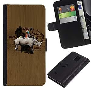All Phone Most Case / Oferta Especial Cáscara Funda de cuero Monedero Cubierta de proteccion Caso / Wallet Case for Samsung Galaxy Note 4 IV // Animal Wood Pattern Hunter Brown