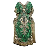 Women's Bohemian Kaftan Dress Green Printed Caftan Maxi Dresses XXXL