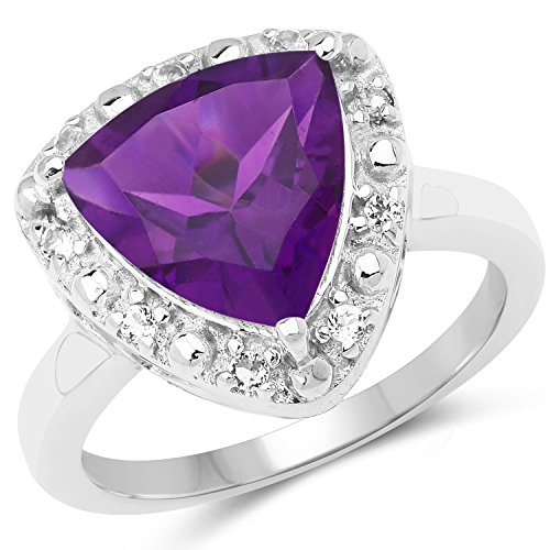 3.75 Carat Genuine Amethyst and White Topaz .925 Sterling Silver Ring
