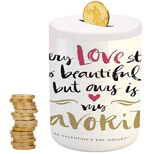 iPrint Valentines Day,Money Bank for Kids,Top Slot Porcelain Nursery Décor Baby Bank,Every Love Story is Beautiful but Ours is My Favorite Romantic - Dragon Valentine Ball