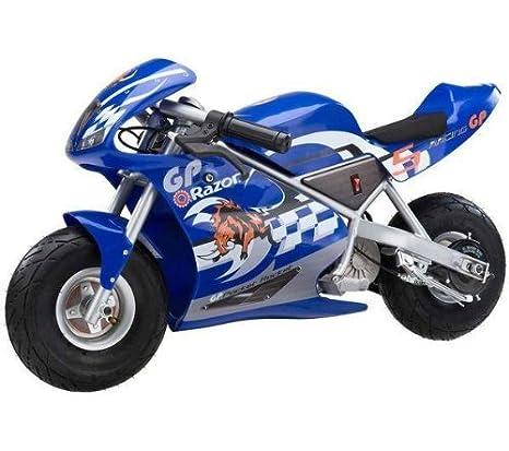RAZOR Mini moto eléctrica Pocket Rocket azul + Casco Niña: Amazon.es: Juguetes y juegos