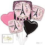 (US) Andaz Press Balloon Bouquet Party Kit with Gold Cards & Gifts Sign, Paris French Bridal Shower Theme Foil Mylar Balloon Decorations, 1-Set