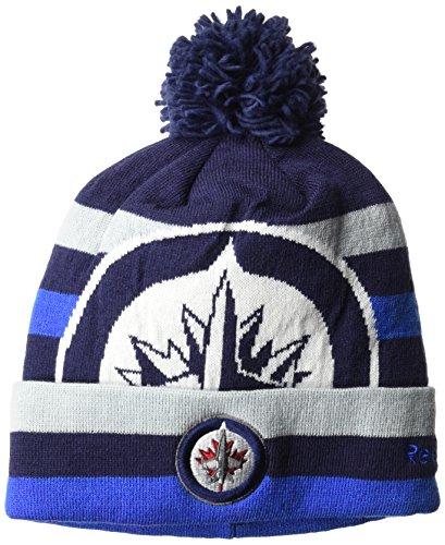 fan products of Reebok NHL Winnipeg Jets SP17 Striped Cuffed Knit Pom Headwear, Navy, One Size