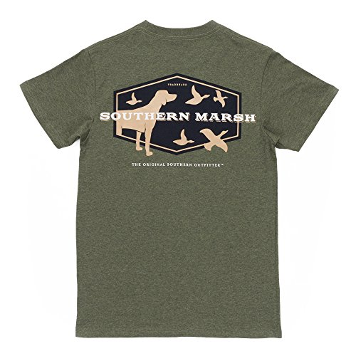 Southern Marsh Branding - Hunting Dog, Washed Dark Green, Small (Tshirts Southern Boys)
