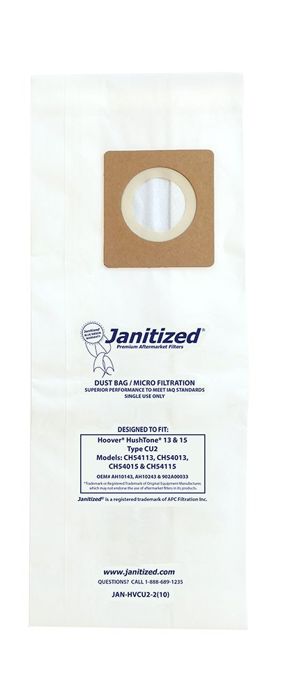 Janitized JAN-HVCU2-2(10) premium replacement commercial vacuum bag for Hoover Hushtone 13'' & 15'', OEM# AH10243, 902A00033 (Pack of 10)