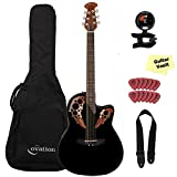 Ovation Applause Elite AE44-5 Acoustic Electric Guitar, Black, with Gig Bag and Accessory Kit