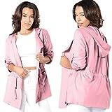 SunWard(TM) Women Hooded Long Coat Trench Windbreaker Parka Outwear (Large, Pink)
