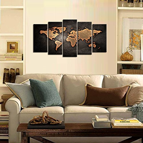Kreative Arts – Retro World Map Poster Framed 5 Pcs Giclee Canvas Prints Vintage Abstract World Map Painting Printed on Canvas Ready to Hang for Living Room Office Decor Gift Medium Size 40x24inch
