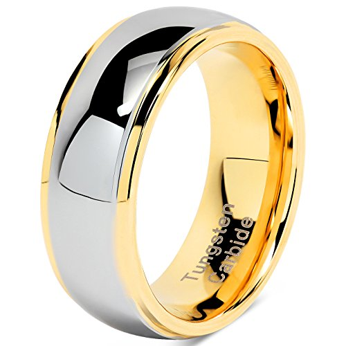 100S JEWELRY Tungsten Rings For Men Women Wedding Band Two Tones Gold Silver Engagement Size 6-16 With Half Sizes Available (10) by 100S JEWELRY (Image #2)