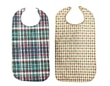 Adult Bib With Waterproof Vinyl Backing Washable 17x34 Plaid (Snap Closure) Made in USA (Pack of 2)