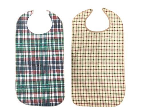 Adult Bib With Waterproof Vinyl Backing Washable 17x34 Plaid (Snap Closure) Made in USA (Pack of 12) by Personal Touch
