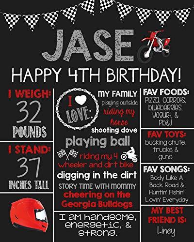 (Dozili Personalized Motor Cross Chalkboard Style Metal Sign- Dirtbike- Gray- Red -Printable Birthday Sign- Birthday Board- Personalized Custom Sign- Birthday)