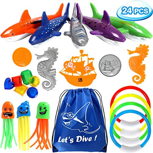 (24 PCS Diving Toy Set Underwater Swimming Pool Toys with 4 Diving Rings, 3 Octopus, 5 Diving Fish, 5 Pirate Accessories, 6 Under Water Treasures and 1 Drawstring bag Gift Set Bundle for Kids (24 Pack))