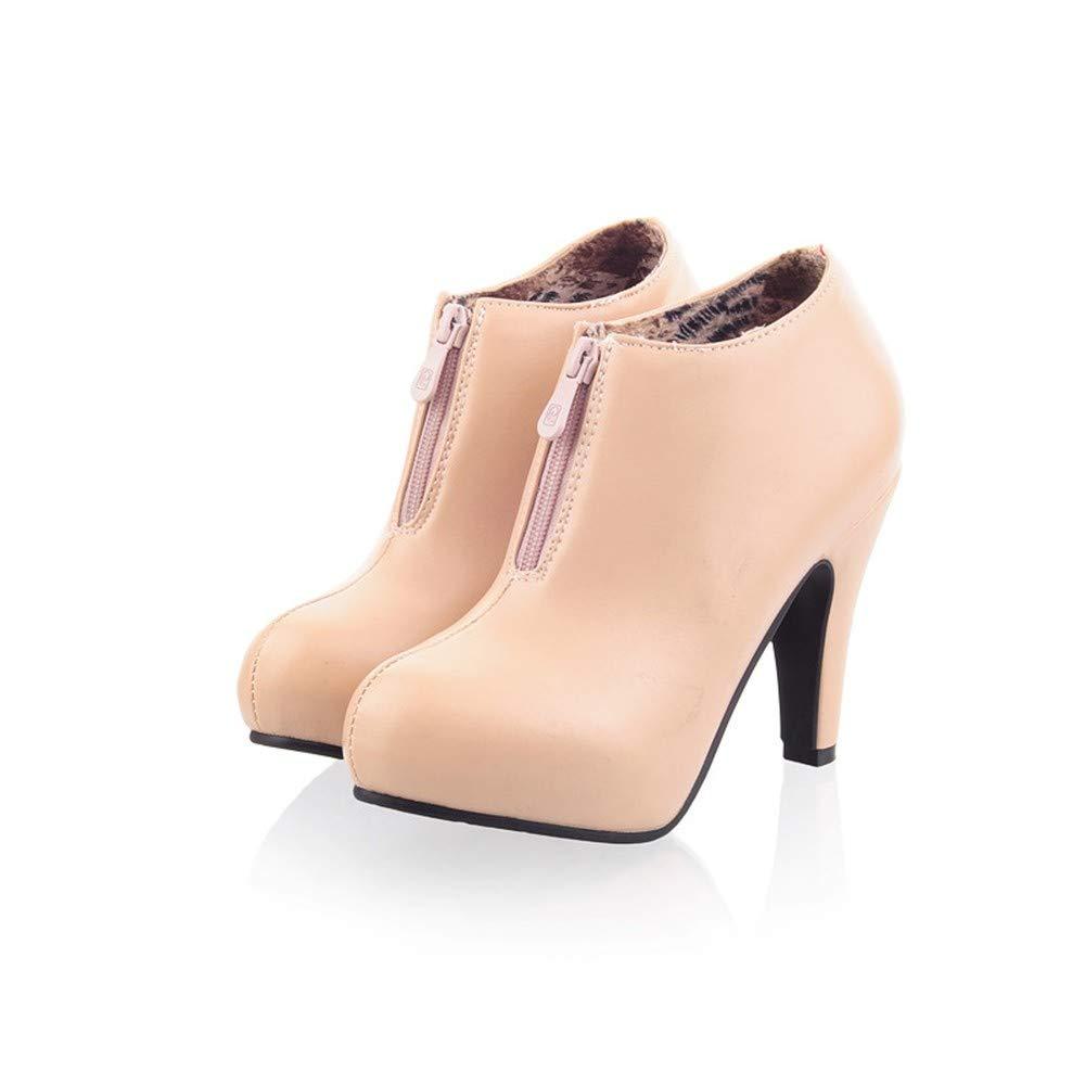 UENGF High Heel Frauen Schwarz Spike High Heels Pumpen Für Frauen Herbst Winter Plattform Schuhe Reißverschluss Frau Damen Kausale Schuhe