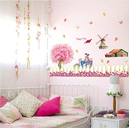 - WANGBO Wall Sticker Fence Windmill Pattern Pastoral Style Farm Theme Decorative Decals DIY Wall Stickers Home Decor