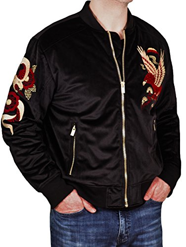 Men's Velvet Bomber Jacket With Snake Embroidery From Jordan Craig Atelier by JC Atelier