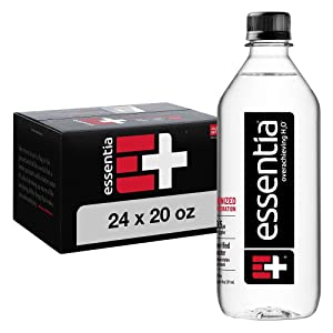 Essentia Bottled Water, 20 Ounce, Pack of 24 Bottles; 99.9% Pure, Infused with Electrolytes for a Smooth Taste, pH 9.5 or Higher; Ionized Alkaline Water