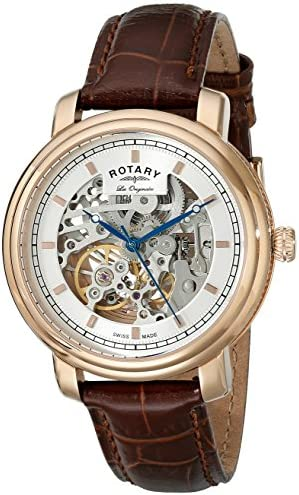 Rotary Men s gs90505 06 Analog Display Swiss Automatic Brown Watch