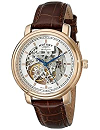 Rotary Men's gs90505/06 Analog Display Swiss Automatic Brown Watch