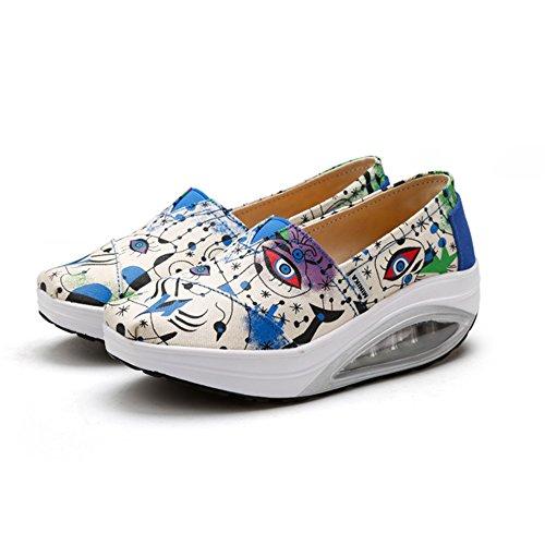 Womens Fashion Sneakers Slip On Canvas Loose Shock Absorption Sport Shoes By Btrada Blue dMYMvMxr