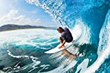 Surfer wave photo wallpaper - surfer catching a wave mural - XXL wall decoration 55 Inch x 39.4 Inch