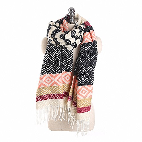 Lictory Fashion Winter Long Warm Cashmere Scarf For Women Wavy Stripe Spell Color Russian Thick Tassel Scarves Female Shawls Black - Tube Russian Women