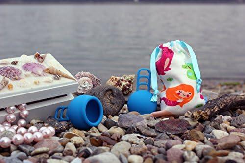 Merula Cup mermaid (azul) - Tamaño único copa menstrual de silicona de grado médico