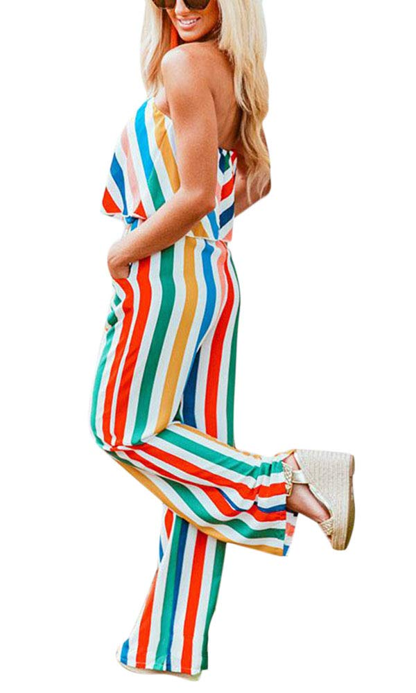 Yissang Women's Eye-catching Striped Color Chiffon Jumpsuit Romper with Pockets